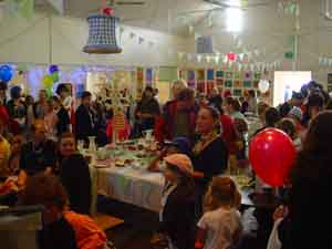 inside the hall at the fete